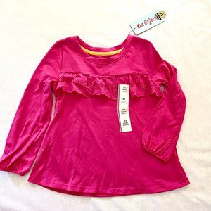 Pink Long Sleeved T-shirt with lace, sz 3T, NWT